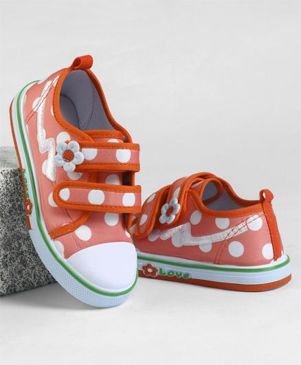 Cute Walk by Babyhug Casual Canvas Shoes Polka Dots Print - Light Orange