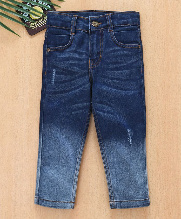 Babyhug Full Lenght Jeans With Adjustable Elastic Waist - Blue