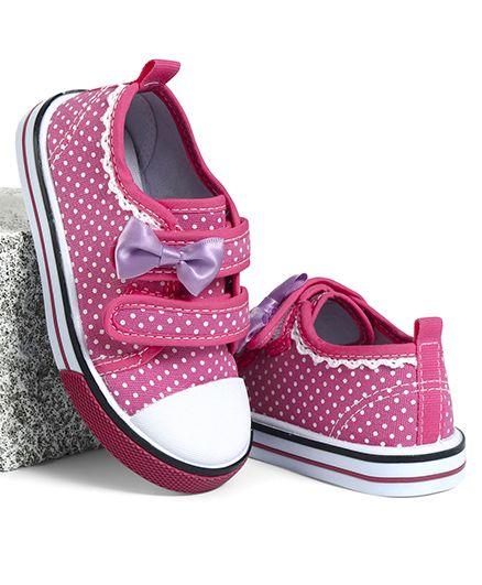 Cute Walk by Babyhug Canvas Shoes Dots Print Bow Applique - Fuchsia