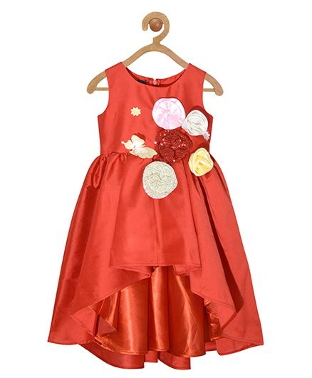 Pspeaches Asymmetric Frock With Flowers - Rust
