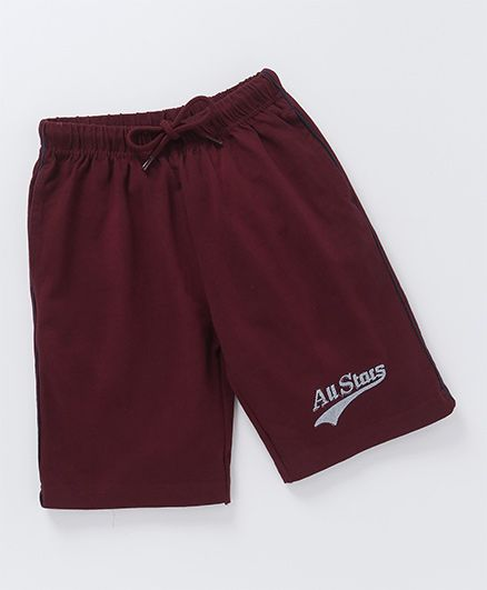 JusCubs All Star Print Casual Boys Shorts - Maroon