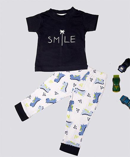 Treasure Trove Smile Print Full Sleeves Night Suit - Navy Blue