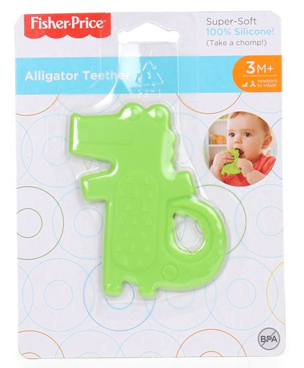 Fisher Price Alligator Shaped Silicone Teether - Green