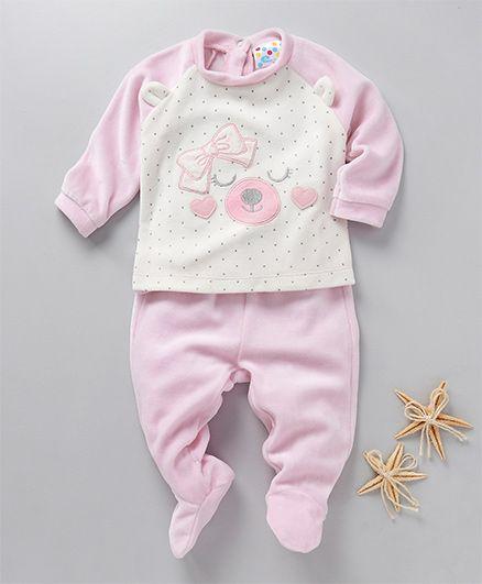 Eimoie Full Sleeve Raglan Tee & Footed Pants Set - Light Pink