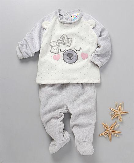 Eimoie Full Sleeve Raglan Tee & Footed Pants Set - Grey