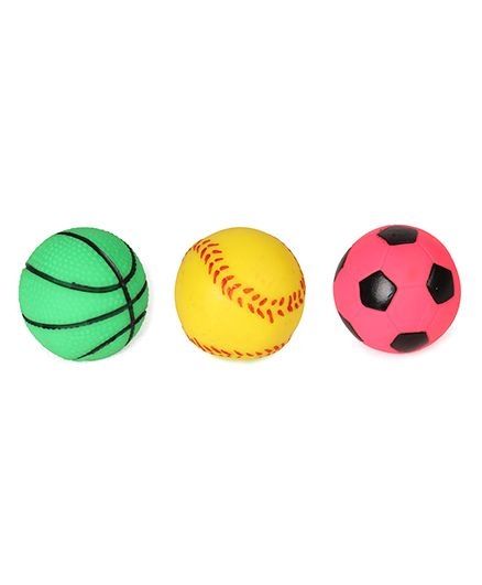 Speedage Family PVC Squeezy Ball Pack Of 3 - Yellow Green Pink