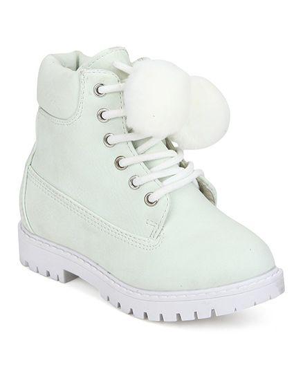 Minni Tc Pu Pom Pom Lace Up Ankle Boots - Cream