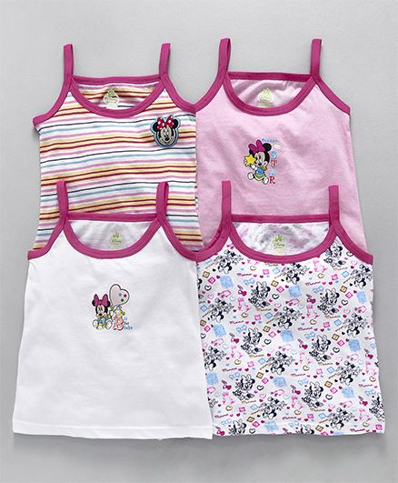 Bodycare Slips Minnie Mouse Print Pack of 4 - White Pink