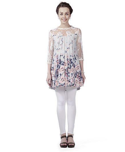 Innovative Lace Yoke & Sleeve Maternity Tunic Top - White