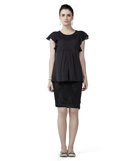 Innovative Maternity Tunic Top & Skirt Set - Black