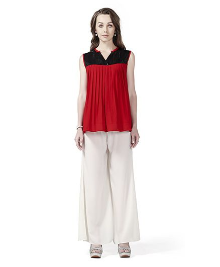 Innovative Stylish Sequin Yoke Maternity Tunic Top & Palazzo Set - Red & White