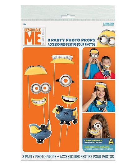 Funcart Minions Themed Photo Booth Props Multicolour - 8 Pieces