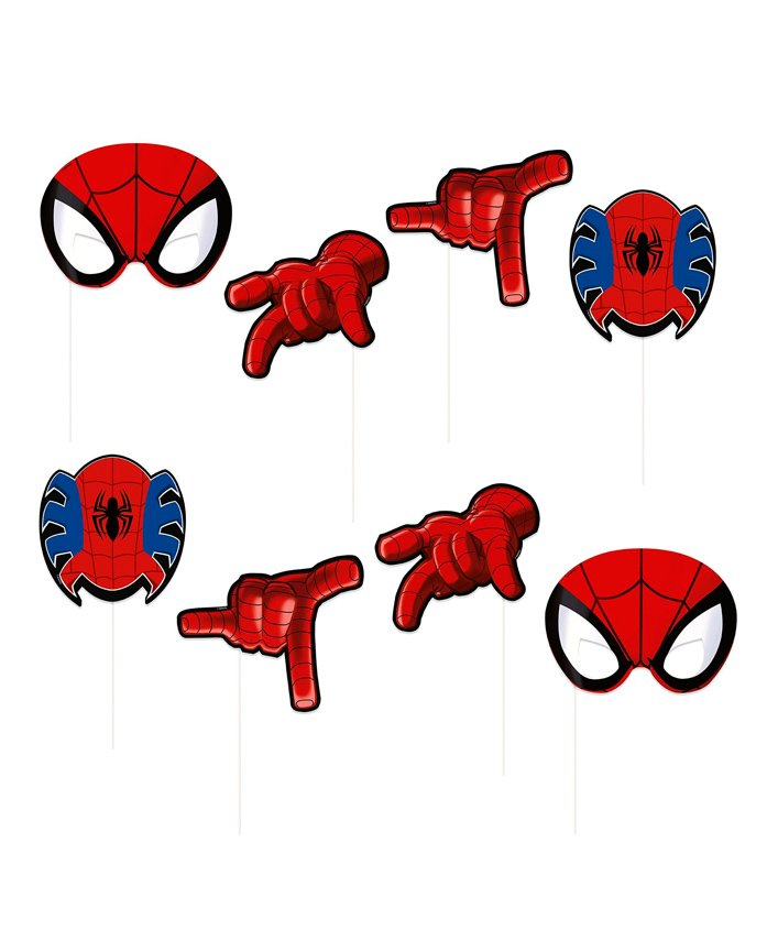Funcart Marvel Spider Man Themed Photo Booth Props Multicolour - 8 Pieces
