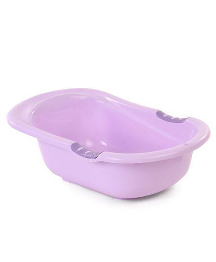 Baby Bath Tub With Drain Plug Delighted Print - Purple