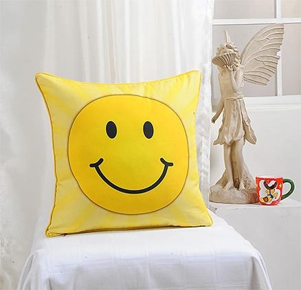 Digital Smiley Print Kids Cushion Cover 16 X 16 Inches, A Cute Digital Smiley Print Cushion ...