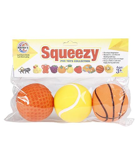 Ratnas Squeaky Sports Ball Bath Toys Pack Of 3 - Orange Yellow
