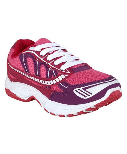 Myau Solid Laced Up Sports Shoes - Pink