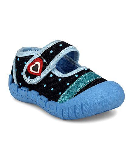 Myau Embellished Heart Shape Velcro Closure Casual Shoes - Sky Blue