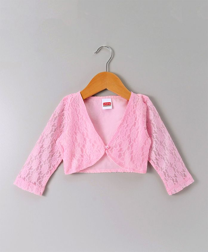 Babyhug Full Sleeves Party Wear Lace Shrug With Pearl Button - Light Pink