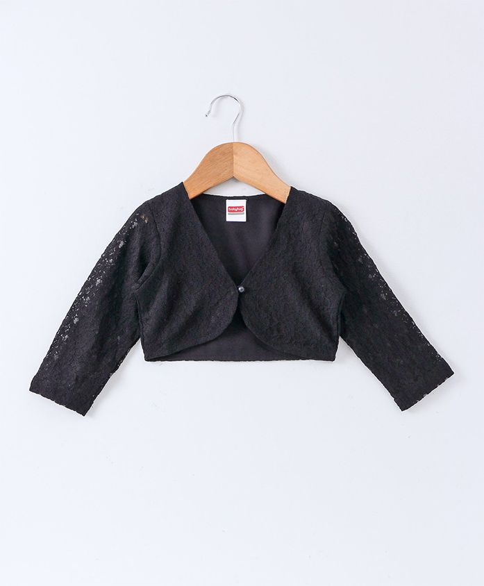 Babyhug Full Sleeves Party Wear Lace Shrug With Pearl Button - Black