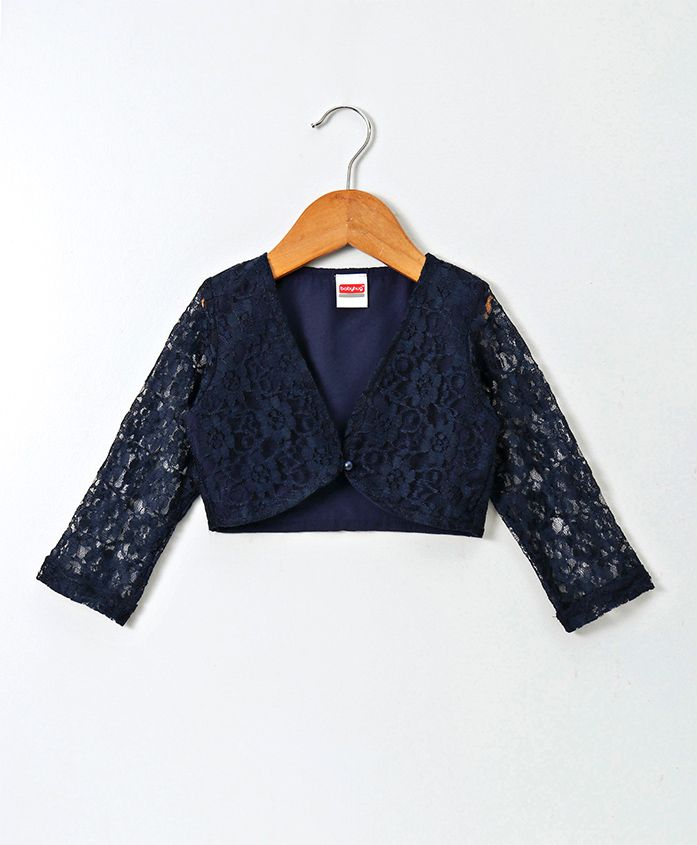 Babyhug Full Sleeves Party Wear Lace Shrug With Pearl Button - Navy