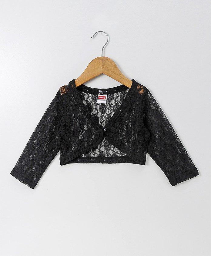 Babyhug Full Sleeves Party Wear Lace Shrug - Black