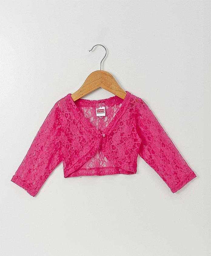 Babyhug Full Sleeves Party Wear Lace Shrug - Fuchsia Pink