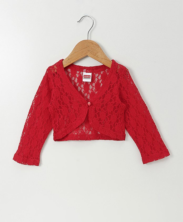 Babyhug Full Sleeves Party Wear Lace Shrug - Red