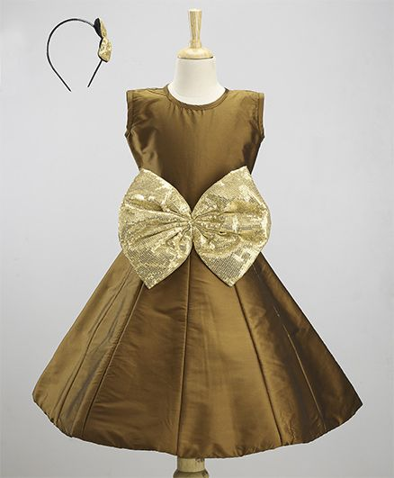 JBN Creation Dress With A Big Shimmer Bow &  Hairband - Coffee & Gold