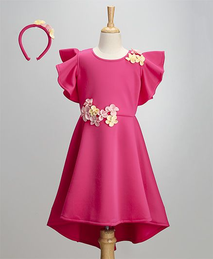 JBN Creation Dress With Flower Design & Frill Sleeves - Pink