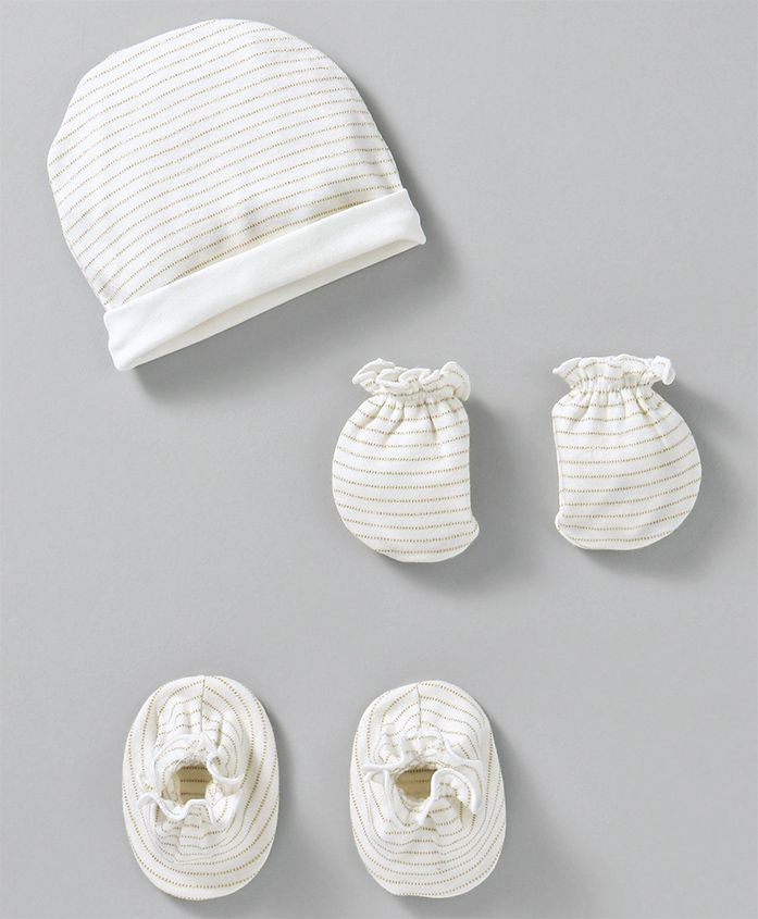 Ben Benny Cap Mitten & Booties Set Stripes Pattern - White
