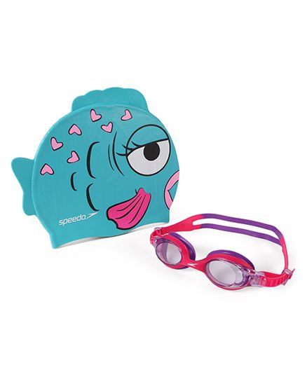 Speedo Sea Squad Goggle And Cap Combo Pack - Pink And Blue