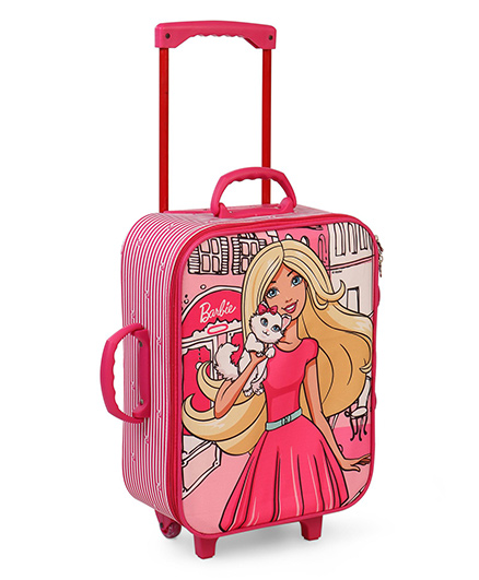Barbie Trolley Bag Girl Print Pink  - 16.9 inches