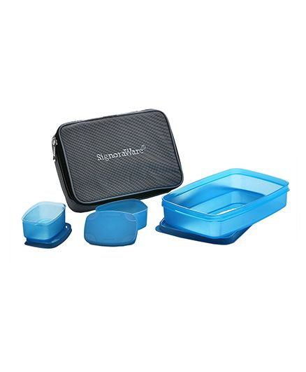 Signoraware Compact Lunch Box Set With Insulated Bag - Blue