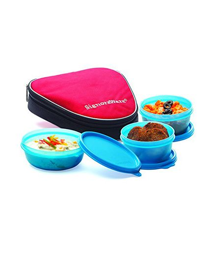 Signoraware Sleek Lunch Box Set With Bag - Teal Blue