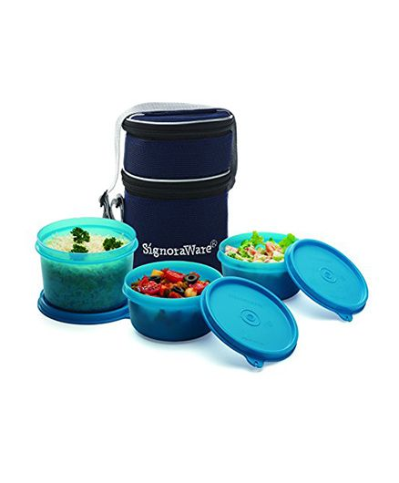 Signoraware Lunch Box Set With Bag - Teal Blue