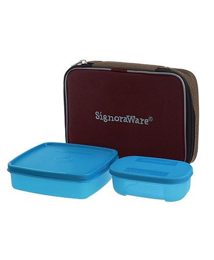 Signoraware Twin Smart Plastic Lunch Box With Bag (Colour May Vary)