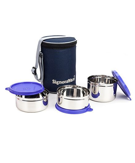 Signoraware Stainless Steel Lunch Box Set of 3 With Insulated Bag (Assorted Colours)