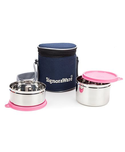 Signoraware Stainless Steel Lunch Box Set of 2 With Insulated Bag (Assorted Colours)