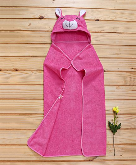Babyhug Terry Bunny Hooded Towel - Dark Pink
