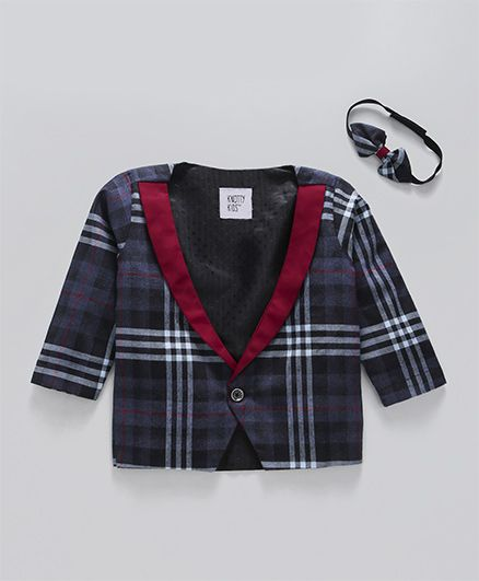 Knotty Kids Checks Jacket With Contrast Collar - Blue