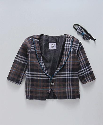 Knotty Kids Checks Printed Jacket - Grey