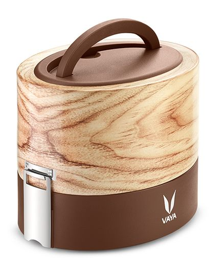 Vaya Tyffyn 600 ml Maple Lunch Box without BagMat Copper Finished Stainless Steel 2 Container Tiffin Box