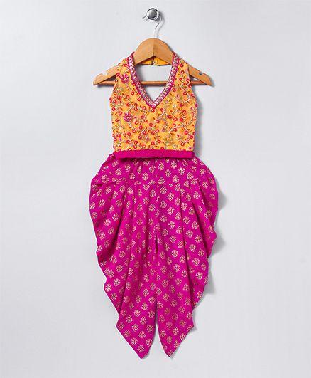 Twisha Printed Dhoti With Embroidered Top - Yellow