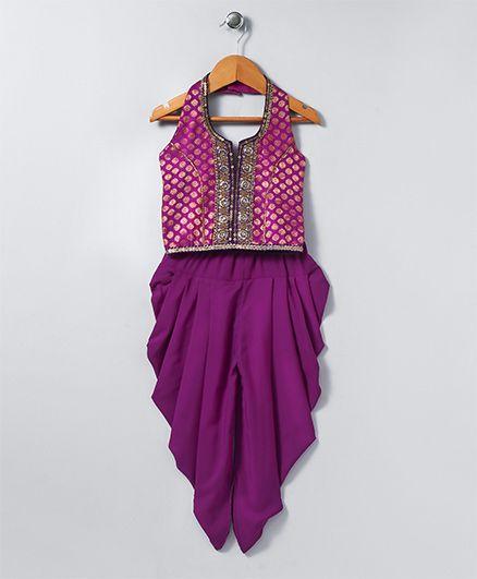 Twisha Printed Dhoti With Brocade Top - Purple