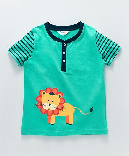 Ventra Lion Print T-Shirt With Striped Sleeves - Green