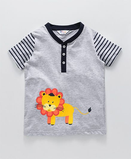 Ventra Lion Print T-Shirt With Striped Sleeves - Grey