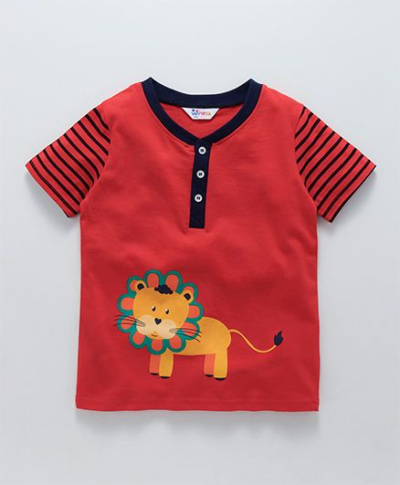 Ventra Lion Print T-Shirt With Striped Sleeves - Red