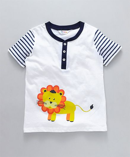 Ventra Lion Print T-Shirt With Striped Sleeves - White