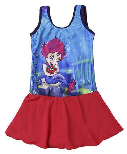 Imagica Neera Character Printed Swimsuit Dress - Red